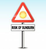 image of sunburn  - vector illustration of metal warning sign about sunburn - JPG