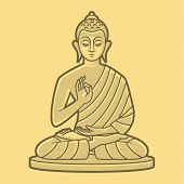 stock photo of priest  - Illustration sing buddha meditates - JPG