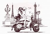 Vector illustration - couple on  a scooter in Paris