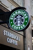 VALENCIA, SPAIN - JANUARY 27, 2014: Exterior of a Starbucks Coffee coffeehouse. Starbucks is the lar