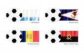 Soccer Ball With Altai, American Samoa, Andorra And Republic Of Angola, Angola Flag