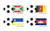 Soccer Ball With Burundi, Cameroon, Buryatia And Cambodia Flag