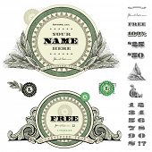foto of scroll design  - Vector round money and financial frames and ornaments - JPG
