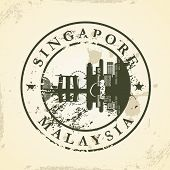 Grunge rubber stamp with Singapore, Malaysia - vector illustration