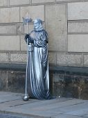 Living Statue On Street Of Dresden