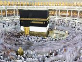 image of kaaba  - Kaaba the Holy mosque in Mecca with Muslim people pilgrims of Hajj praying in crowd  - JPG