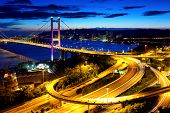 stock photo of tsing ma bridge  - Hong Kong highway system and bridge at night - JPG