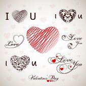 Various heart shape designs and stylish text on abstract background on occasion of Happy Valentines Day.