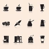 Icons Coffee: Coffee Grinder, Mug, Coffee Grains