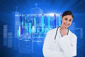 stock photo of thinkers pose  - Smiling female doctor in thinkers pose against futuristic shiny cityscape - JPG