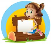 Illustration of a girl above a log holding an empty signage on a white background