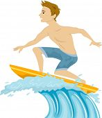 Illustration of a Guy Standing on a Surfboard Riding the Waves
