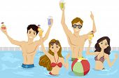 Illustration of a Group of Teenagers Having a Pool Party