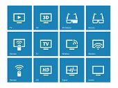 TV icons on blue background. Vector illustration.