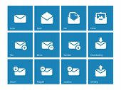 Envelope icons on blue background.