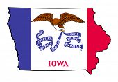 State of Iowa grunge flag map isolated on a white background, U.S.A.