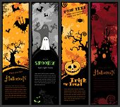 picture of vampire bat  - set of four grungy Halloween banners with pumpkin - JPG