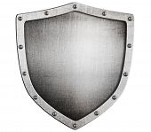 stock photo of shield  - old medieval metal shield isolated on white - JPG
