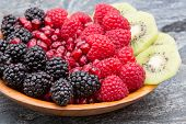 Bowl Of Fresh Exotic Tropical Fruit