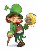 Dwarf with beer. Illustration for saint Patricks day. Eps10 vector illustration. Isolated on white b
