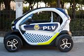 VALENCIA, SPAIN - JANUARY 27, 2014:  A Renault Twizy Electric Police car being used by the Valencia,