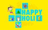 illustration of colorful Happy Holi flat design background