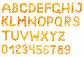 Letters and numbers alphabet of fresh tangerines