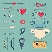 Arrows, hearts and other design elements
