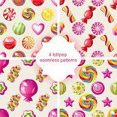 4 bright lollipop seamless patterns