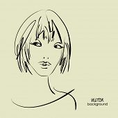 art sketched beautiful girl face from the front with short  straight hair, in vector