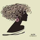 art dark silhouette profile of beautiful girl with curly hair and bijou on sepia background, in vector