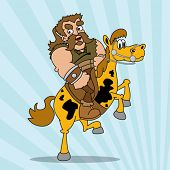 cartoon illustration of barbarian riding a horse