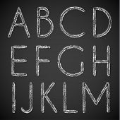 Chalk drawn alphabet characters collection -  uppercase version