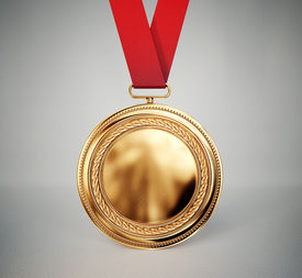 picture of gold medal  - gold medal isolated on a grey background - JPG