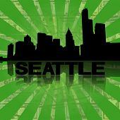 Seattle skyline reflected with green dollars sunburst illustration