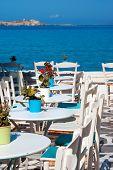Traditional Greek Cafeteria On Mykonos Island, Greece