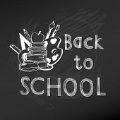 Back to School Chalkboard Illustration - hand-drawn vector