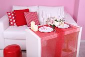 Festive table setting in interior
