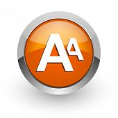 alphabet orange glossy web icon