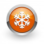snow orange glossy web icon