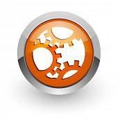 gear orange glossy web icon