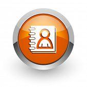 address book orange glossy web icon