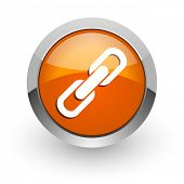 link orange glossy web icon