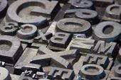 Random Arrangement Of Letterpress Lead Letters