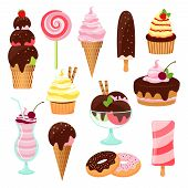 stock photo of icing  - Pastries  cakes and ice cream icon set with an ice cream cone and lolly  cupcake  cake  cookies  donuts  milkshake  dessert and lollipop with icing  chocolate and cherries  vectors on white - JPG
