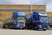 Blue Scania And Volvo Tanker Trucks