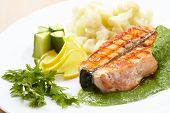 salmon steak with cauliflower