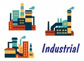 Flat icons of factories and plants