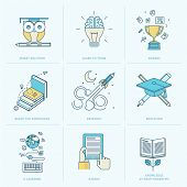 Set of flat line icons for education