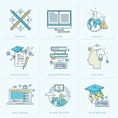 image of online education  - Flat design icons for online learning - JPG